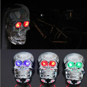 New-Skull-Style-Bike-Bicycle-Laser-Rear-Tail-Light-2-LED-Eye-7-Modes-Lamp-Flash