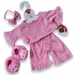 Teddy Bear Clothes fit Build a Bear Teddies Pink Piggy PJ's Pyjamas Pig Slippers