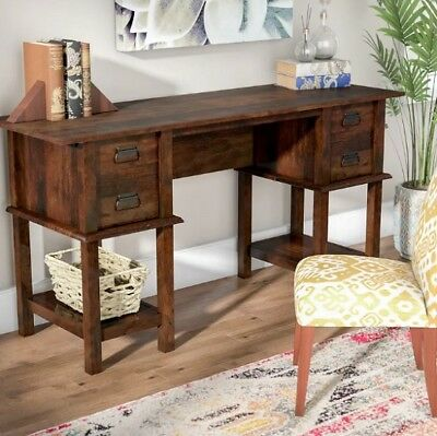 2 Drawer Cherry Computer Desk (Antique Rustic Writing Computer Desk Traditional 2 Drawer 2 Shelf Wood Cherry )