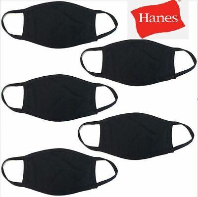 5-Pack Hanes Face Masks - Black Cotton Reusable Cover Washable Cloth Facemask