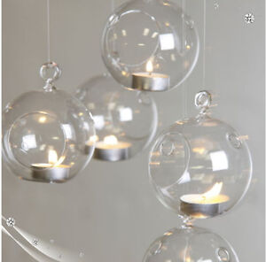 6PCS CHRISTMAS HANGING GLASS BAUBLE TEALIGHT CANDLE GARDEN XMAS TREE DECORATION