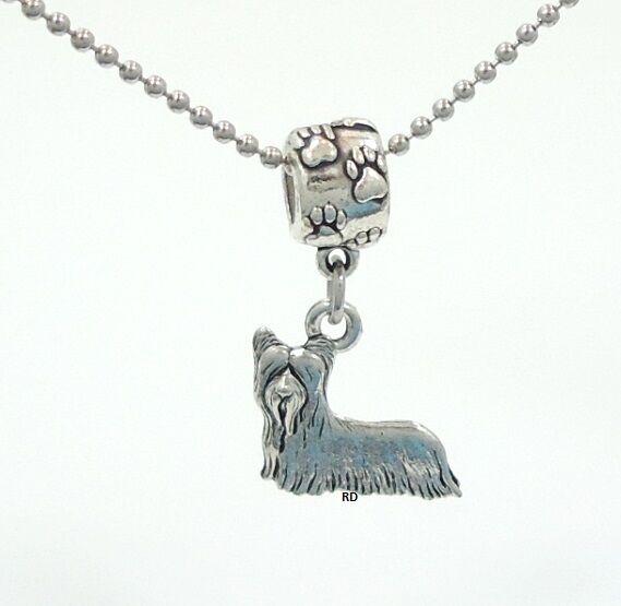 Skye Terrier Lovers Charm on Pawprint Slider for Bracelet OR Necklace