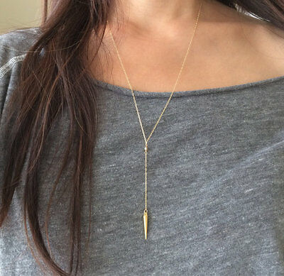 Gold Y Lariat Drop Spike Necklace also in Sterling Silver
