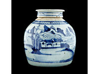 CHINESE JAR - blue & white porcelain antique lidded ginger jar - late 18th Century