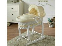 White Wicker with cream Waffle moses basket with FREE Rocking stand. Brand new .