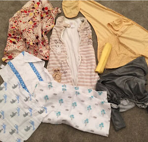 DESIGNER baby lot - sleeping bags, nursing blanket etc $200 New