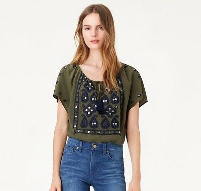 TORY BURCH Camille Dark Green Olive Embroidered Silk Blouse Top Size 0 NWT $325