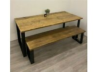 BRAND NEW: Rustic Dining Room Table & Bench