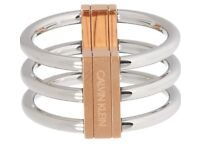 CALVIN KLEIN Silver & Rose Gold Tone Insync Ring Size Medium