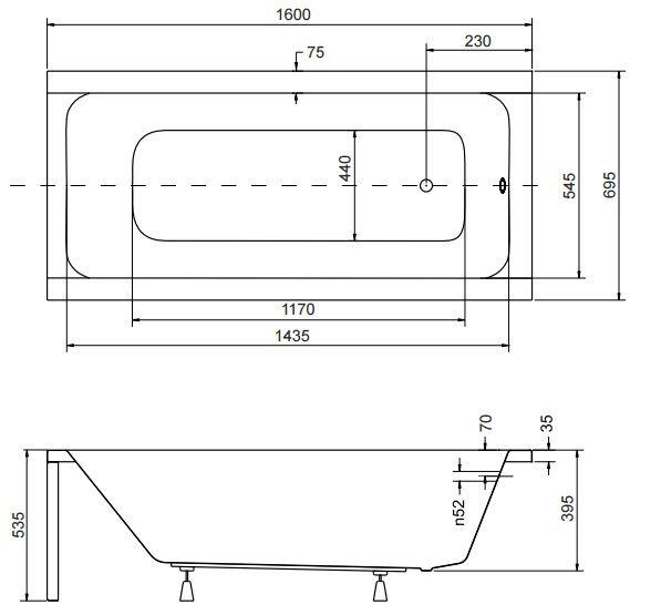 Badewanne Rechteck Acryl 120,130,140,150,160,170x70 Ablauf VIEGA Füße MODERN F 160x70