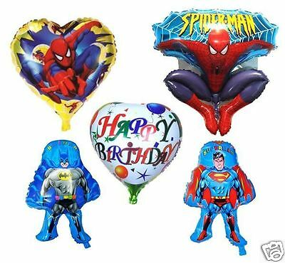 5X NEW BATMAN SUPERMAN SPIDERMAN HAPPY BIRTHDAY FOIL BALLOON PARTY HELIUM AIR