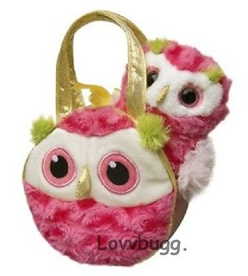 Lovvbugg Whohoot the Owl w Pink Carrier bag for 18 inch American Girl Doll Accessory