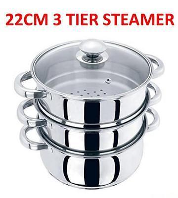 22CM 3 TIER STEAMER STAINLESS STEEL MULTI VEG COOKER POT PAN COOKWARE SET CHN