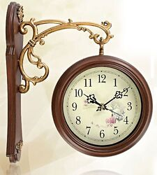 NEW Antique Style Double-Faced CLOCK Interior Double Sided Wall Clock Home Deco