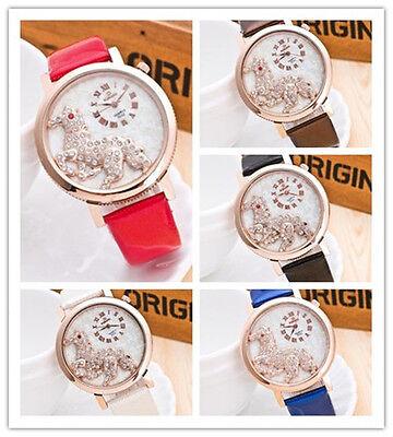 Women Watch Steed Analog Quartz Watch Leather Band Horse Rhinestone Wrist Watch