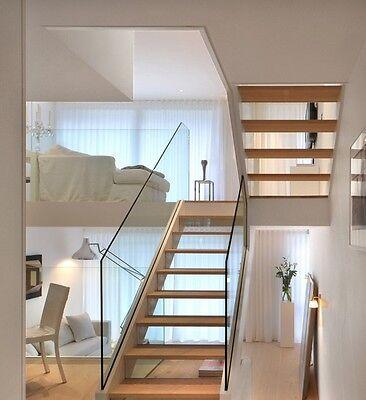 Glass balustrade, frameless / freestanding, indoor and outdoor fitting