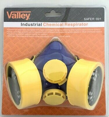 Respirator Industrial Gas Safety Chemical Spray Paint Mask 2 Cartridges Filter
