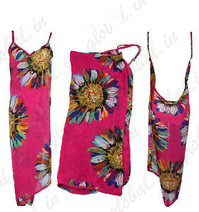 Summer Women Chiffon Open-Back Wrap Front Swimwear Bikini Cover Up Beach Dress