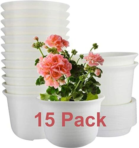 Plastic Plant Pots Indoor with Drainage Hole and Tray, Plants Not Included,White