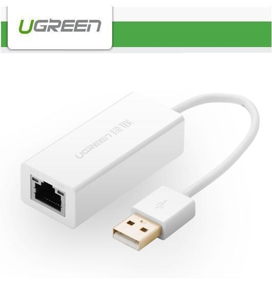 Ugreen USB 2.0 10/100 Mbps Ethernet LAN Network Adapter Converter -ABS WH    NEW