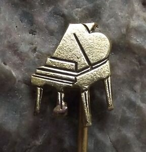 Beautiful-Antique-Golden-Baby-Grand-Piano-Shaped-Motif-Tie-Pin-Badge-or-Brooch
