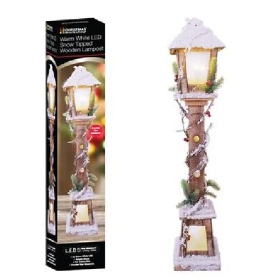 85cm LED Snow Tipped Wooden Lamp Post Christmas Decoration INDOOR USE ONLY