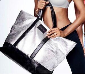 VICTORIA SECRET Metalic Silver leather tote bag
