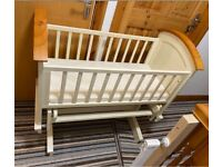Quality Like New Wooden Gliding Cot Crib Baby Bed Nursery Parents Bedroom