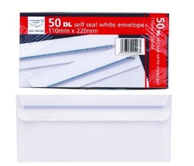 Self-seal Envelope Dl White Plain Letter Paper Envelopes Home School Office 50pk