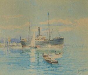 WATERCOLOR FRANCISCO HERNANDEZ MONJO (1862-1937) MARINE