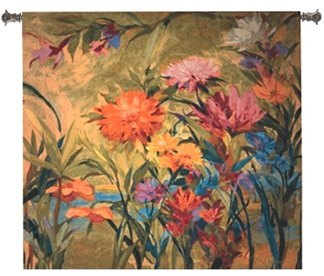 COLOR BURST FLORAL ABSTRACT ART TAPESTRY WALL HANGING 55x53 CLOSEOUT