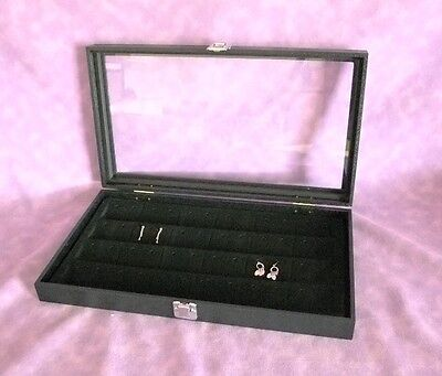 Glass Top Jewelry Display Case For 48 Earrings