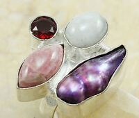 NATURAL STONES IN A Handmade Rolled Sterling Silver Ring Sz 7.5