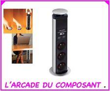 BLOC ESCAMOTABLE A 3 PRISES  2 x USB - TERRE FRANÇAISE (ref16-2049) poids 1,20Kg