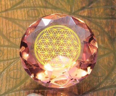 Tachyonen Diamant Blume des Lebens  Klar rosa 45 Energie Heilige Geometrie