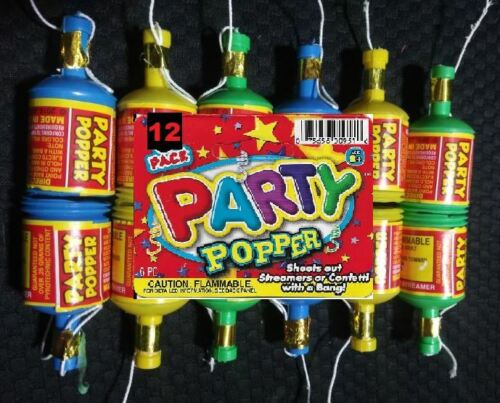 1 Dozen Mini PARTY POPPERS champagne bottle confetti shooter birthday wedding