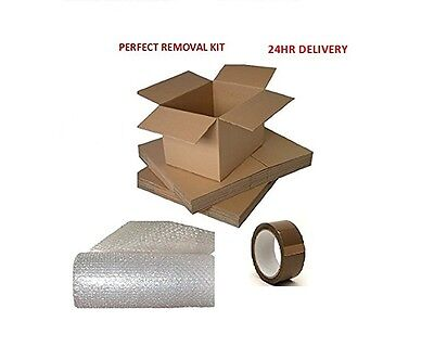 20 X MEDIUM HOUSE REMOVAL PACKING BOXES KIT WITH BUBBLE WRAP & TAPE +HT®SACK