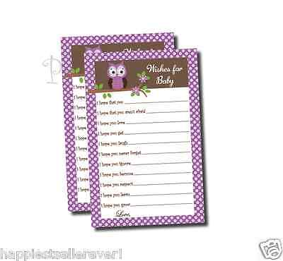50 Purple Baby Shower Wishes for Baby game sheets favor damask owl wish mommy - Purple Owl Baby Shower