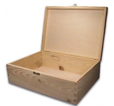 große Holz-Schatulle, Holz-Kassette, Holzbox, geeignet für A4, Kiefer unbeh.