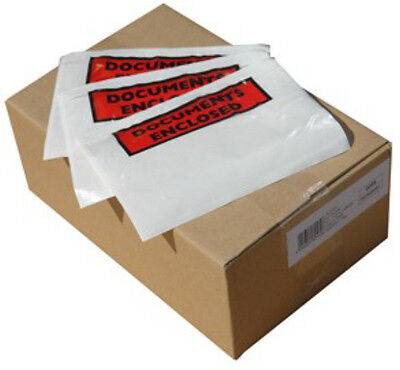 100x A7 PRINTED Documents Enclosed Plastic Postage Bags Labels