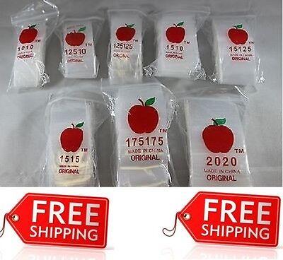 600 Apple Ziplock Assortment Clear 2 Ml Zip Lock Bags Small Size Baggies 6x100