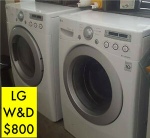 LG WASHER & DRYER SET  white  front loading