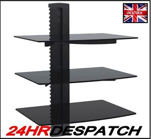 Floating-Glass-Wall-Bracket-3-Shelve-SKY-TV-DVD-Wii