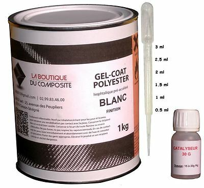 1kg. de gel coat polyester iso. blanc avec catalyseur & pipette doseuse.