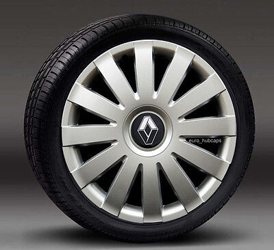 """Silver 15"""" wheel trims, Hub Caps, Covers to fit Renault Clio ( Quantity 4)"""