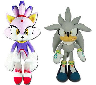 NEW GE Sonic the Hedgehog Stuffed Plush Toys Set of 2 - Blaze the Cat & Silver