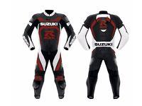 one piece suzuki gsx red and black leather motorbike suit