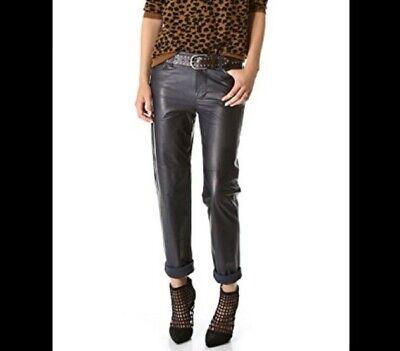 J Brand Black Paulette Boyfriend Mid Rise Leather Pants Lined Women's 4 $995 EUC