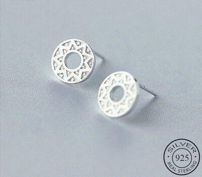 925 Sterlingsilber Ohrstecker Damen Ohrringe Rund Kreis Coin Symbol Blüte Silber