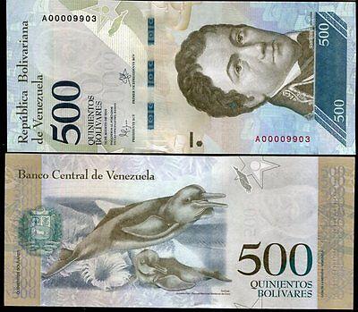 Venezuela 500 Bolivares 2016 P New Low Serial 4 Digit Unc